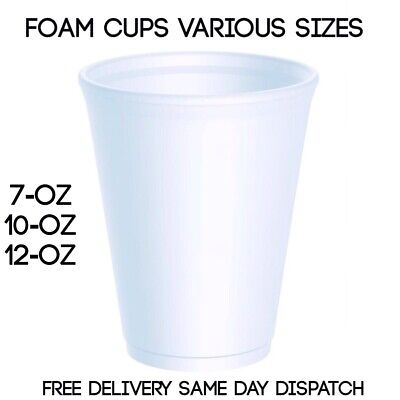Foam Cups White Polystyrene Hot Tea Coffee Latte Soup Disposable White Insulated • 11.99£