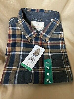 $13.99 • Buy NEW Mens XL Weatherproof Flannel Plaid Navy & Gold Button Down Long Sleeve Shirt