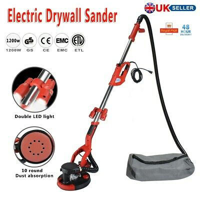 1200W Drywall Sander Long Telescopic Handle With With LED 220mm Pad Wall Ceiling • 155.99£