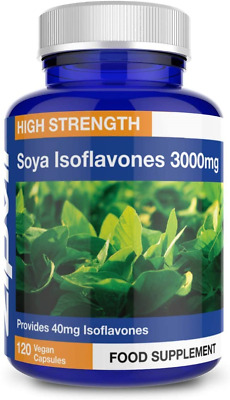 SOYA Isoflavones 3000mg, 6000mg Daily Dose. 120 Vegan Capsules, 2 Months Supply • 16.59£