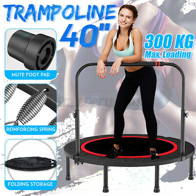 40'' Foldable Trampoline Exercise Fitness Rebounder Cardio Trainer Gym + Handle • 44.99£