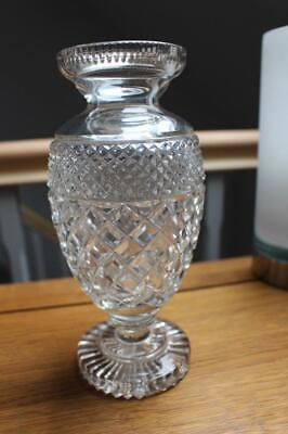Vintage Heavy Criss Cross Pattern Crystal Glass Footed Vase • 65£