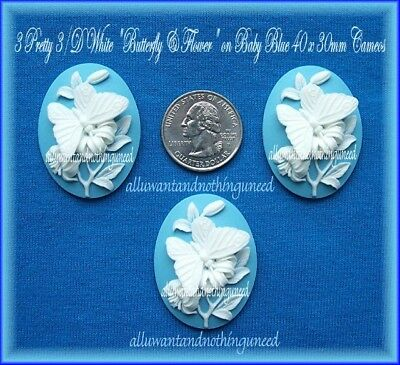$2.99 • Buy 3 WHITE BUTTERFLY & FLOWER On BABY BLUE 40mm X 30mm Costume Jewelry Craft CAMEOS