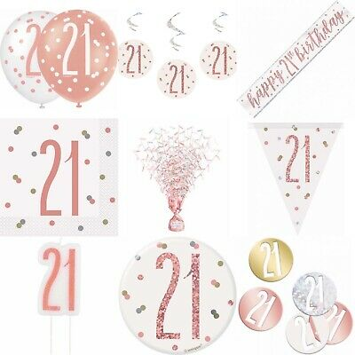 21st Birthday Rose Gold,Decorations,Party,Confetti Balloons Banner Flag Bunting • 7.99£