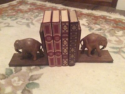 "Pair Of Wooden Carved Elephant Book Ends; Height 6.5""; Made In India; Vintage • 12£"