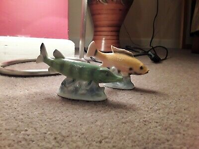 Vintage Ceramic Pike Fish Ornament And One Other Freshwater Fish • 5£