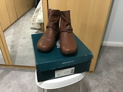 Hotter Whisper Dark Tan Leather  Ankle Boots Size 5 Standard • 12.99£