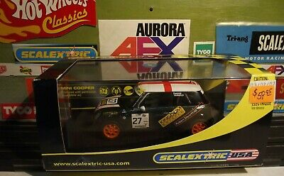 SCALEXTRIC USA 1:32 GREEN-WHITE MINI COOPER  JOHN COOPER CHALLENGE  No27 #C2562 • 42.42£