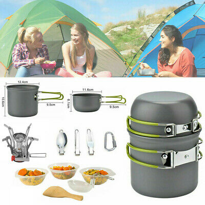 £18.93 • Buy 12Pcs/Set Portable Camping Cookware Kit Outdoor Picnic Hiking Cooking Equipment