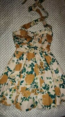 £20 • Buy Womens Halter Neck Floral 50s Housewife Pretty Dress Size 12 Bnwt Rrp £40 Gift
