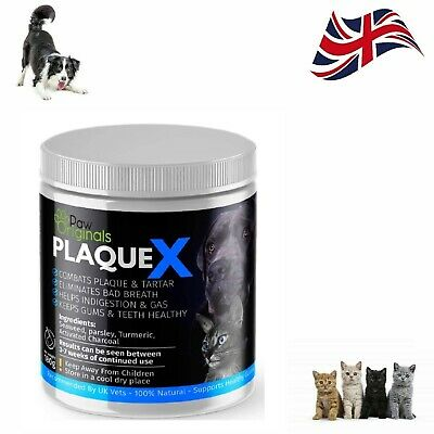 Plaque X For Dogs Cats Tartar Remover Breath Freshener Turmeric Formulation 180g • 10.51£