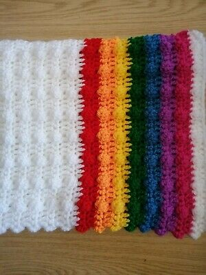 Beautiful Crocheted  Handmade Baby Blanket - Bobble  Rainbow 🌈  • 12.99£