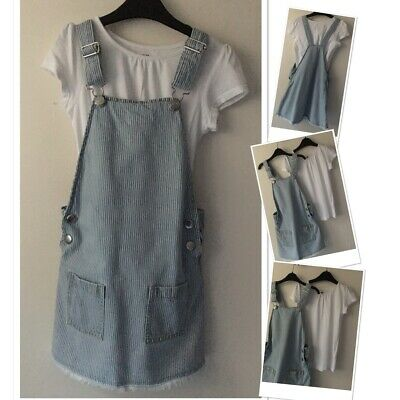 F&F Girls Pinstriped Dungarees Dress & H&m Casual Top Outfit 7-8 Years  • 6.95£