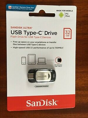 AU8.99 • Buy Brand New & Sealed ! 32 GB SANDISK ULTRA USB Type-C Drive,Speed Up To 150MB/s.