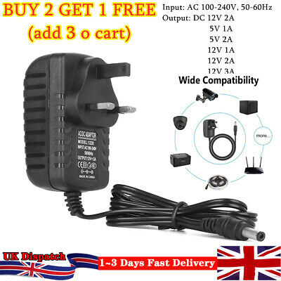 12V 1A 2A AC DC UK Power Supply Adapter Safety Charger For LED Strip CCTV Camera • 5.49£