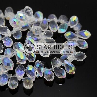 100 X FACETED GLASS BRIOLETTE TEARDROP PENDANTS BEADS PICK SIZE - CLEAR AB • 3.50£