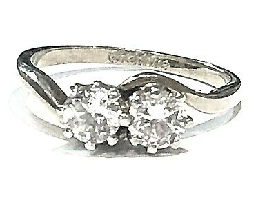 Ladies Silver Tone Ring Set With 2x Cubic Zirconia Size P • 9.99£