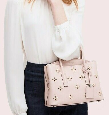 $ CDN150.66 • Buy Auth Kate Spade Leather Studded Satchel Bag Purse_$358_pale Vellum/pink/beige