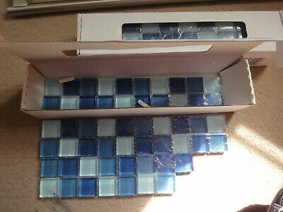 Bathroom Glass Mosaic Tiles Blue Pattern 7x25cm Border Edging • 6.99£
