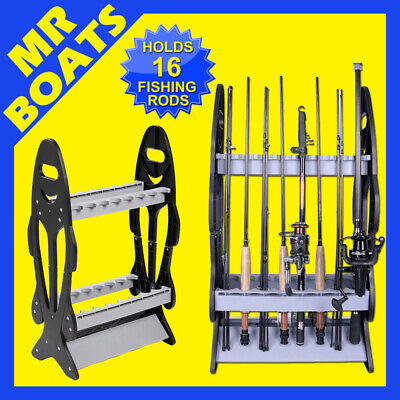 AU34.94 • Buy FISHING ROD HOLDER RACK Holds 16 Fish Rods Storage Stand Double Sided FREE POST