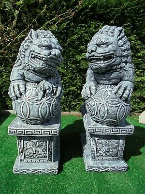 Large Pair Of Left And Right Foo Dogs Garden Ornament • 70£