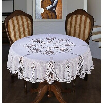White Tablecloth Round Lace Pattern 59  150cm Premium Quality • 15.50£