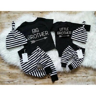 Big/Little Brother Matching Set Baby Boy Tops Romper Pants Outfits Clothes UK • 6.95£
