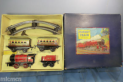 VINTAGE HORNBY  0  No. M1   PASSENGER SET ( OVERPRINTED FRENCH BOX )   VN MIB • 210£
