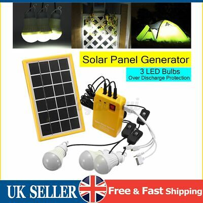 UK Solar Panel Power Charging Generator Home System Kit With 3 LED Bulbs Outdoor • 22.68£
