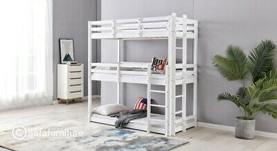 Triple Sleeper Bunk Bed In Solid Pine 3 Tier Bed 3ft Extra Thick Frame Or White • 349.99£