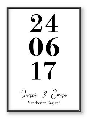 Personalised Date Prints Wall Art New Home Anniversary Wedding Family Poster • 13.99£