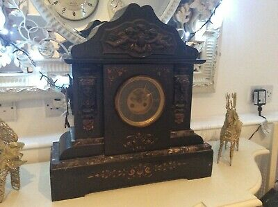 Massive Slate Marble Clock With Ormolu Mounts And Handles  • 149£