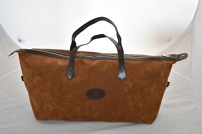 £450 • Buy Mulberry Brown Suede Leather Pattern Holdall Satchel Gym Weekend Travel Bag Mens