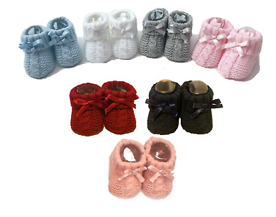£2.85 • Buy Newborn Baby Boy Girl Bow Knitted Booties Bootees Soft Shoe Gift Idea 0-3 Months
