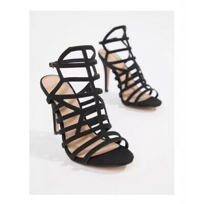 £10 • Buy ASOS Black Caged Suede Strappy Heels Size 4 Party Night Out Sandals