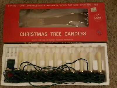 $ CDN15.17 • Buy Vintage Christmas Tree Candle String Lights With Clips 10 Straight Line
