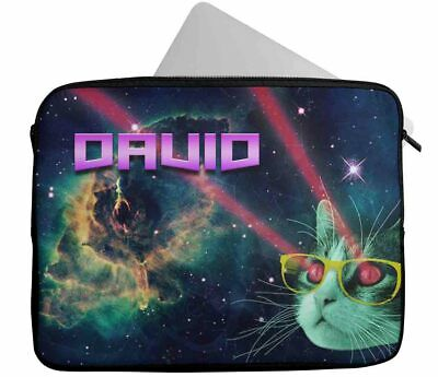 £10.99 • Buy Personalised Any Name Cat Design Laptop Case Sleeve Tablet Bag 34
