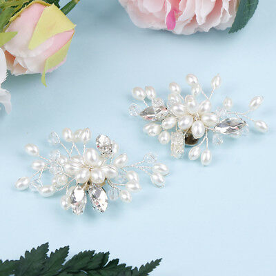 £4.05 • Buy 1 Pair Rhinestone Pearl Shoe Clips Wedding Party Shoes Charm Decoration ✓