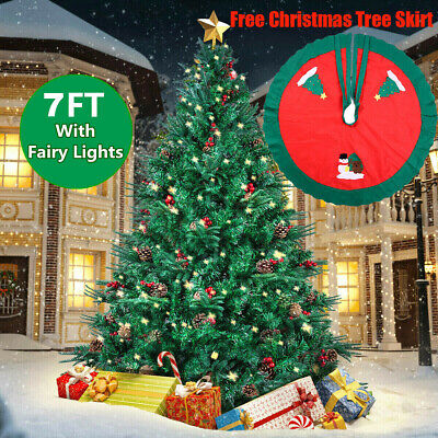 7FT Christmas Tree Green Bushy With Metal Stand+Lights In/Outdoor Decoration • 58.99£