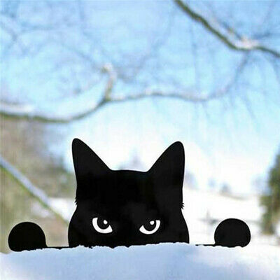 Black Cat Silhouette For Garden Decoration Outdoor Yard Lawn Fence Post Ornament • 5.69£