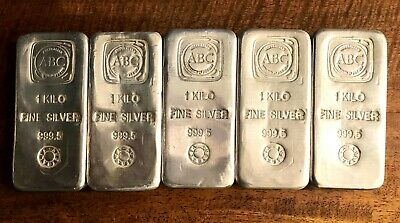AU7200 • Buy 5 X 1 Kg ABC Silver Kilogram Bullion Bar 999.5