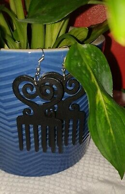 African Woman Wooden Earrings Africa Ethnic Jewellery Afro Comb Black • 4.99£