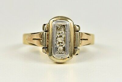 Antique Art Deco 18ct Gold Diamond Ring, (1920's/30's) • 250£