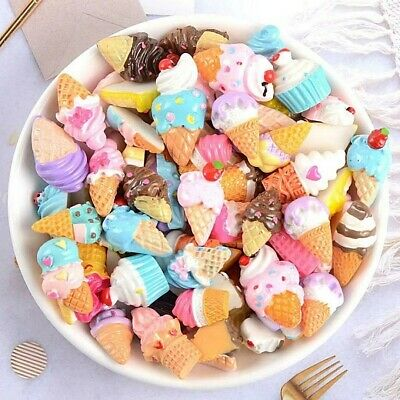 Mix Fake Food Sweets, Lolly Cakes Cookies Muffins Cabochon Ice Creams CB22 • 2.99£