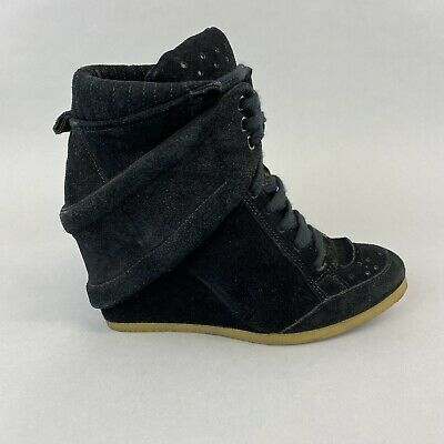 Zara Black Leather Suede Ankle Lace Up Wedge Boho Hippies Booties Boots 39 UK6 • 26.10£