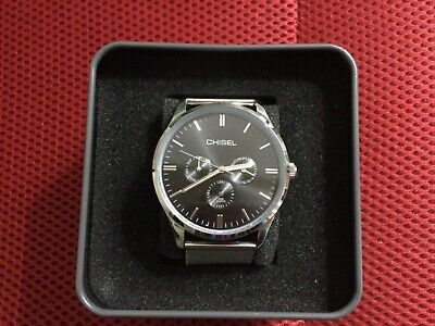 AU110 • Buy Men's CHISEL Watch - Black & Silvertone - Mesh Strap - New In Box Unwanted Gift