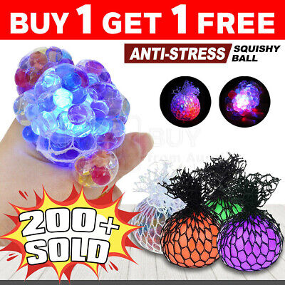 AU10.95 • Buy Squishy Mesh Ball Squeeze Toy Grape Anti Stress Relief Abreaction Sensory
