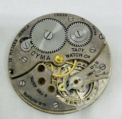 Vintage Mens CYMA Pocket Watch Movement Tacy Watch Co. 15 Jewels Parts • 18.41£