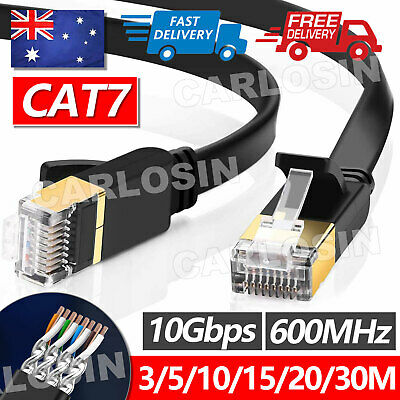 AU5.95 • Buy Upto 30M Network Lan CAT7 RJ45 Cord Ethernet Flat Shielded Cable Patch Lead