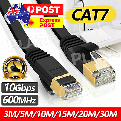AU12.95 • Buy 3m 10m 30m CAT7 RJ45 10Gbps Ethernet Network Lan Cable Flat Shielded Patch Lead